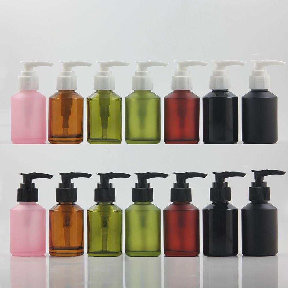 100pcs 60ml garrafa manteiga corpo de vidro com bomba de comprimento, 2 oz bomba de loção shampoo garrafa cosmético