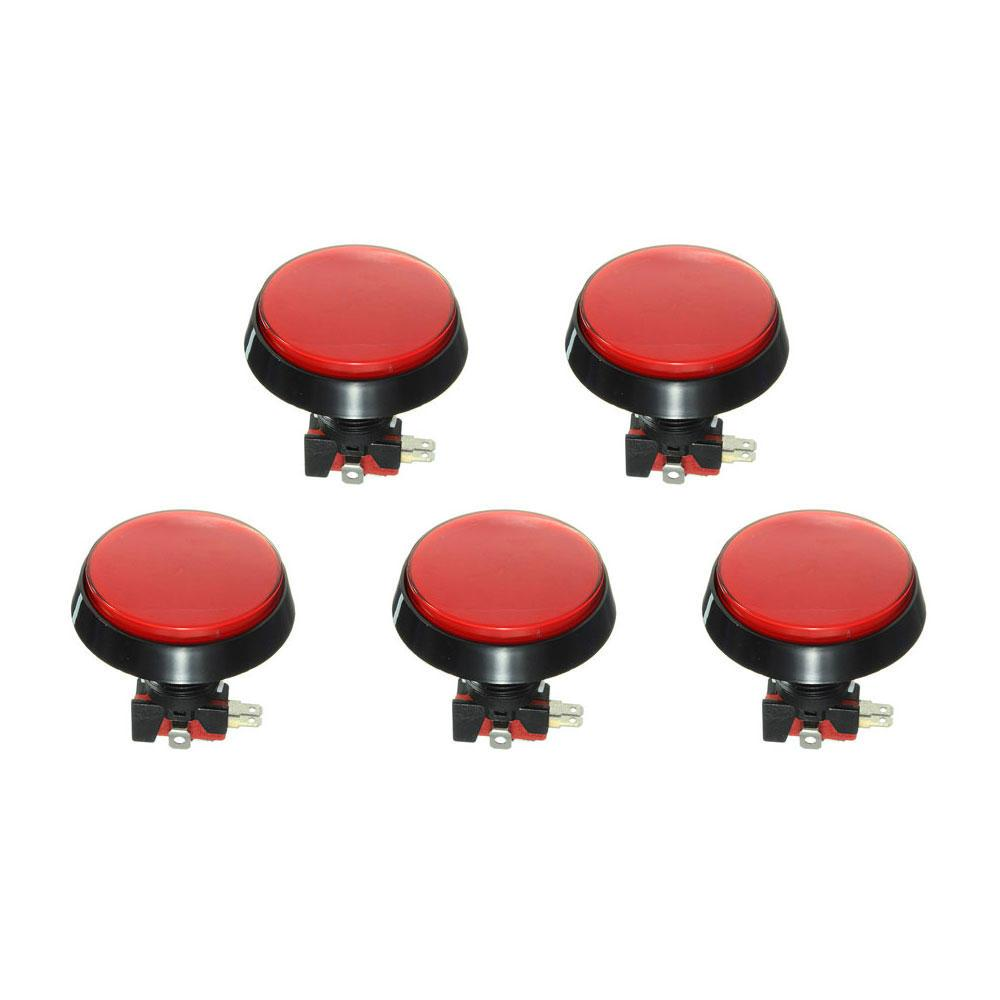 5PCS 레드 LED 라이트 60mm 아케이드 비디오 게임 플레이어 푸시 버튼 스위치