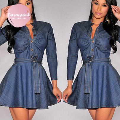 T Belt Long Sleeve Dresses Fashion Women Slim Fit Blue Denim Jean Dress  Plus Size Drop Shipping Dress Maxi Dresses From Bestshirt009, $33.76| ...