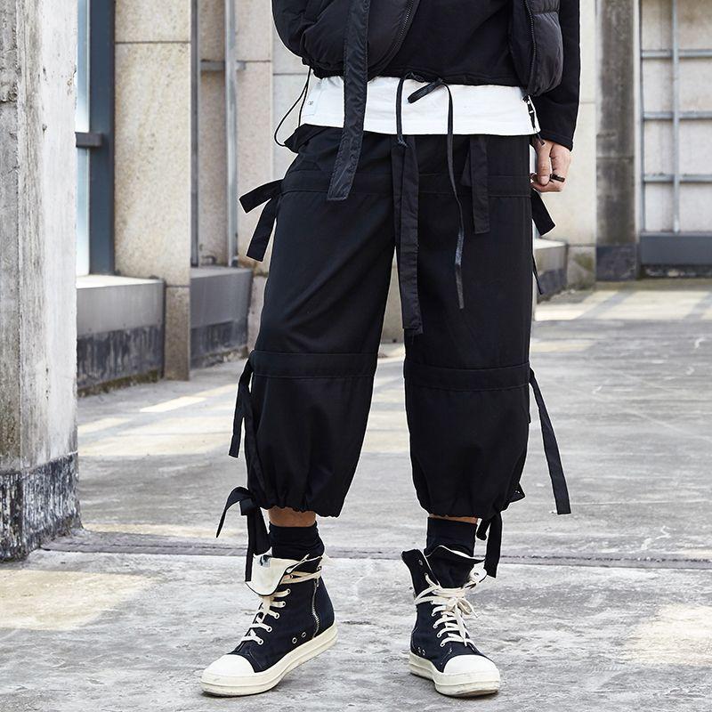 Hommes Japan Style ruban noir Splice desserrées Pantalons simple Homme Streetwear Hip Hop Punk Gothique Harem Pantalon Joggers Sweatpants