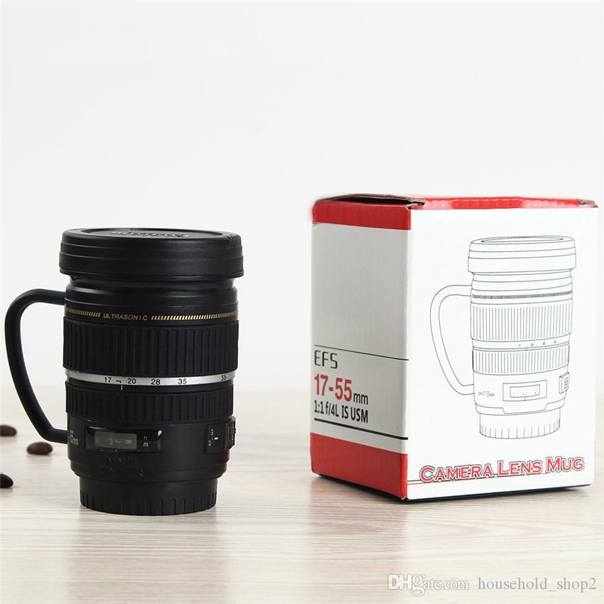 Lente de la cámara Copas Taza de 220 ml portable creativo de acero inoxidable vaso botella de vino taza de café tazas del recorrido del vacío taza de agua de regalos A05