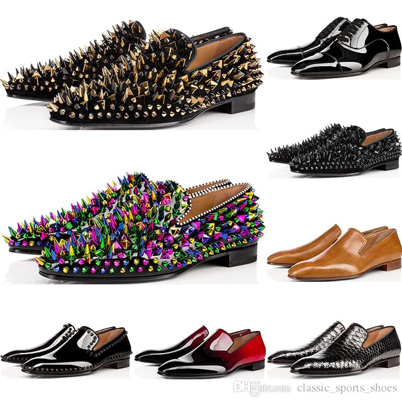 2020 mens shoes loafers casual red spike Patent Leather Slip On Dress Wedding flats bottoms Business Party men sneakers