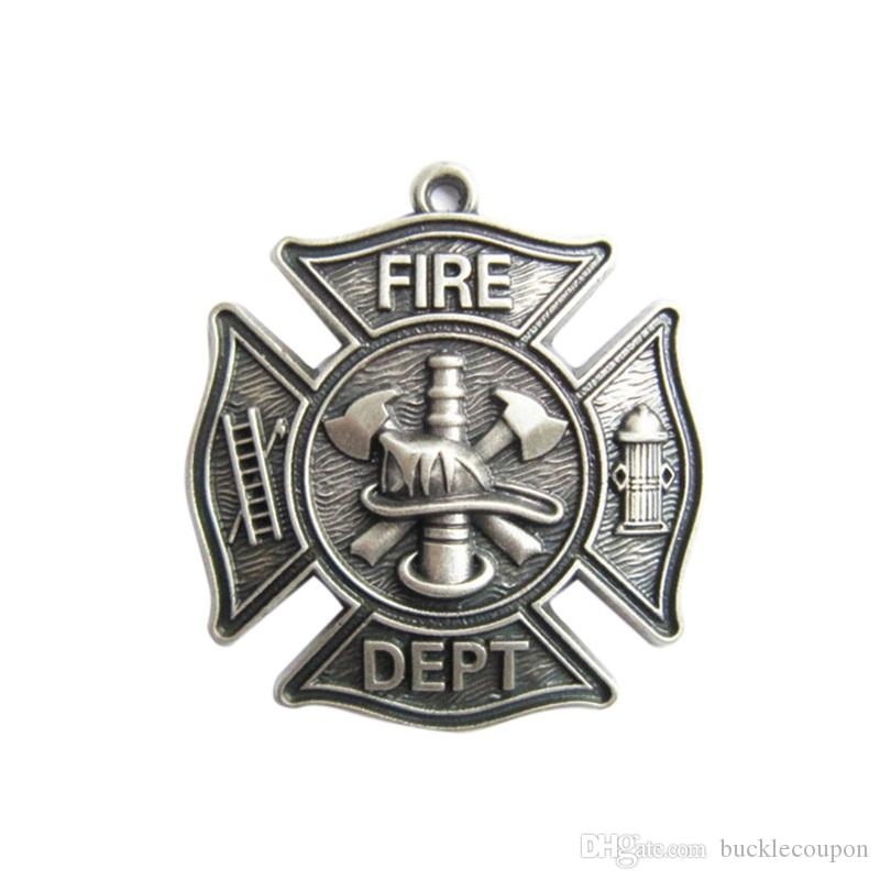 Pendant (New Silver Plate Firemen Firefighter Fire Dept Charm Pendant ) Charm PENDANT-OC010SL