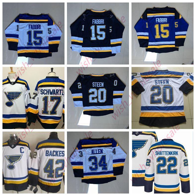dell'uomo Cheap St. Louis Blues Maglie Robby Fabbri Jaden Schwartz Jake Allen Chris Thorburn Jersey ricamati hokey Jersey
