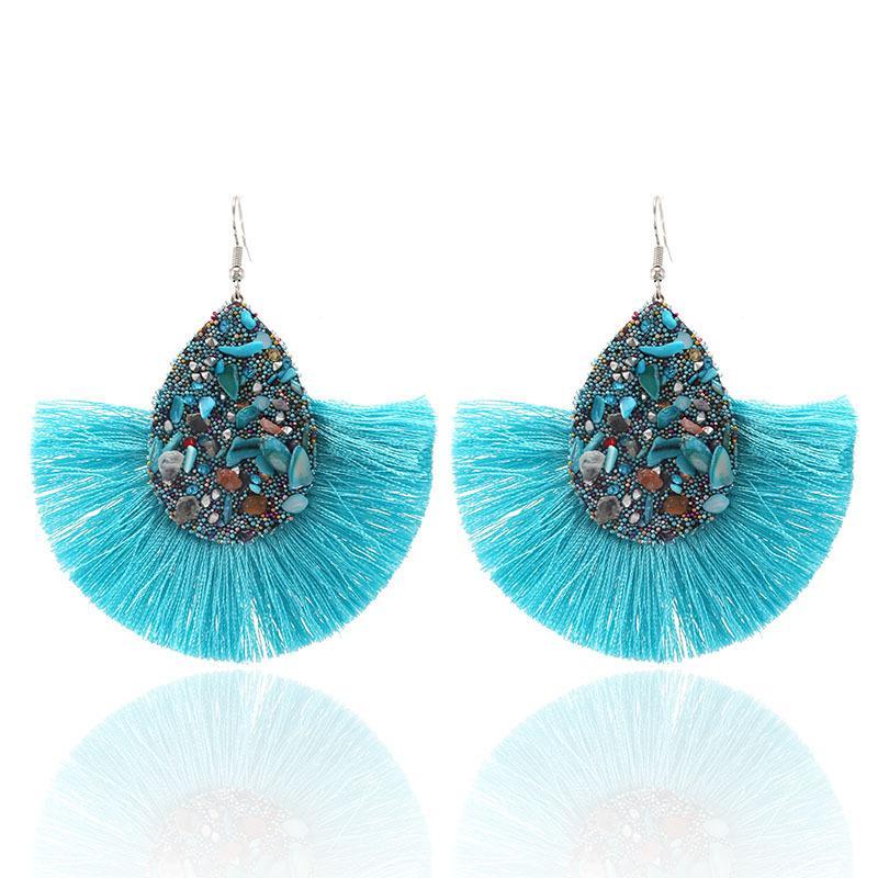 Thread Tassel Dangle Earrings Druzy Stud Earrings Bohemian Ethnic Fringe Statement Drop Earrings