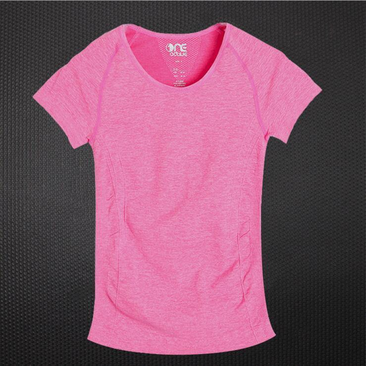 Printemps et été FEMMES Sport T-shirt ultra-extensibles Les vêtements de yoga Slim Fit Quick-Dry manches courtes évacuant l'humidité en cours Fit