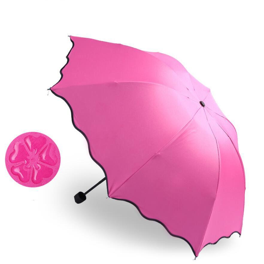 للطي المظلات للنساء يندبروف الشمس ماجيك زهرة قبة واقية من الشمس البارسول مظلة المطر مظلة المطر والعتاد paraguas 6 ألوان