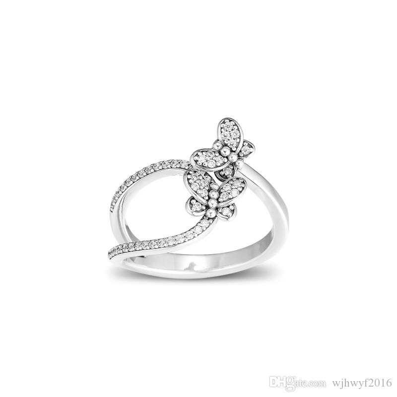 New Authentic Original 925 Sterling Silver Ring Pan Bedazzling Butterflies Ring For Women Wedding Party Gift Fine Europe Jewelry