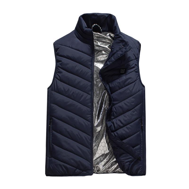 남성 조끼 겨울 열 코트 USB 가열 조끼 남자 슬리밍 된 자 켓 슬림 맞는 방풍 스탠드 칼라 하이킹 히터 히터