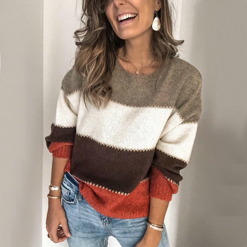 Katı Renk Çizgili Patchwork Triko Kadınlar Moda Günlük Gevşek O-Yaka Uzun Kollu Femme Giyim Yeni Tops