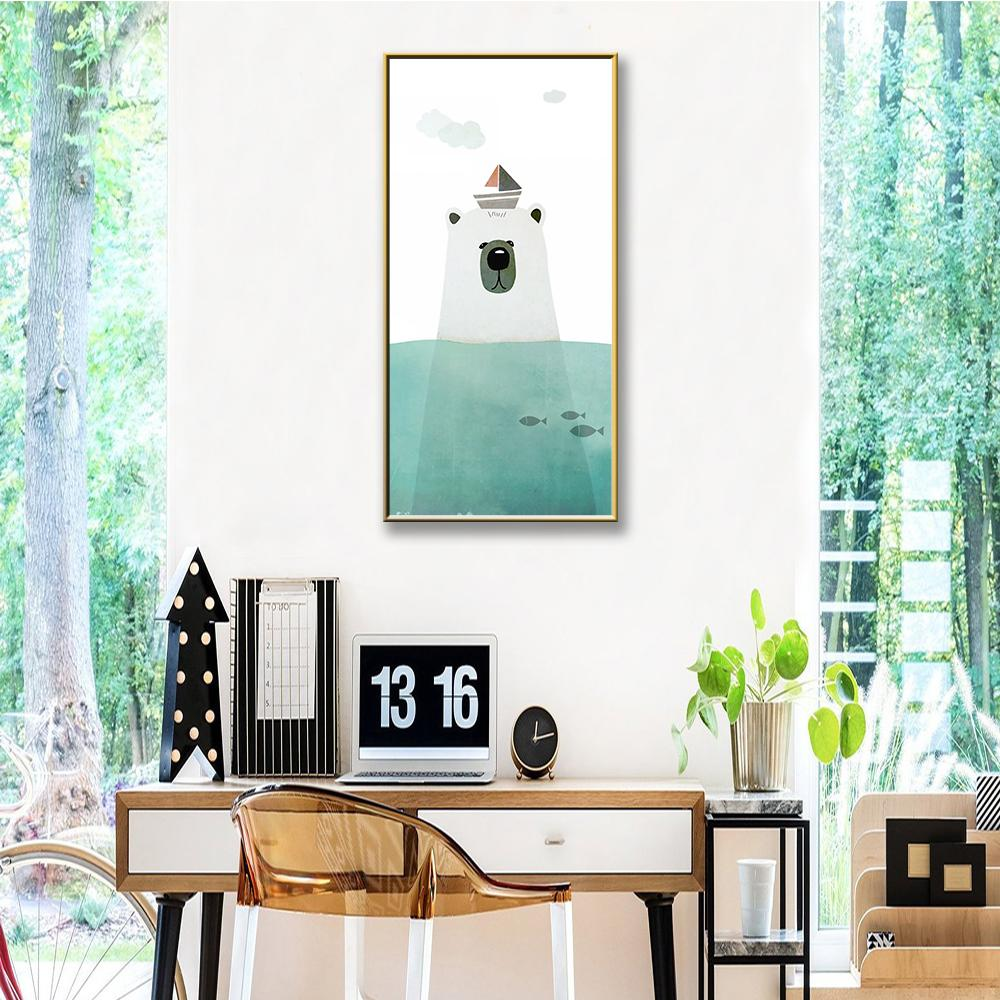 HD Printed Polar Bear Chinese Ink Splash Poster Art Print Canvas Painting Picture Paintings For Living Room Wall Home Decor
