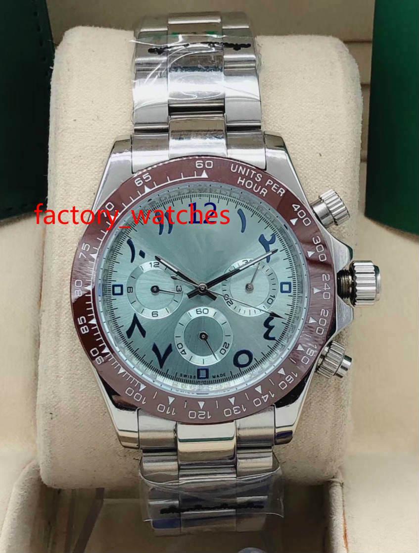 Top qualité Wristwatches 40mm céramique Bezel index chiffre arabe Non Mouvement Chronographe Asie mécanique automatique Mens Watch