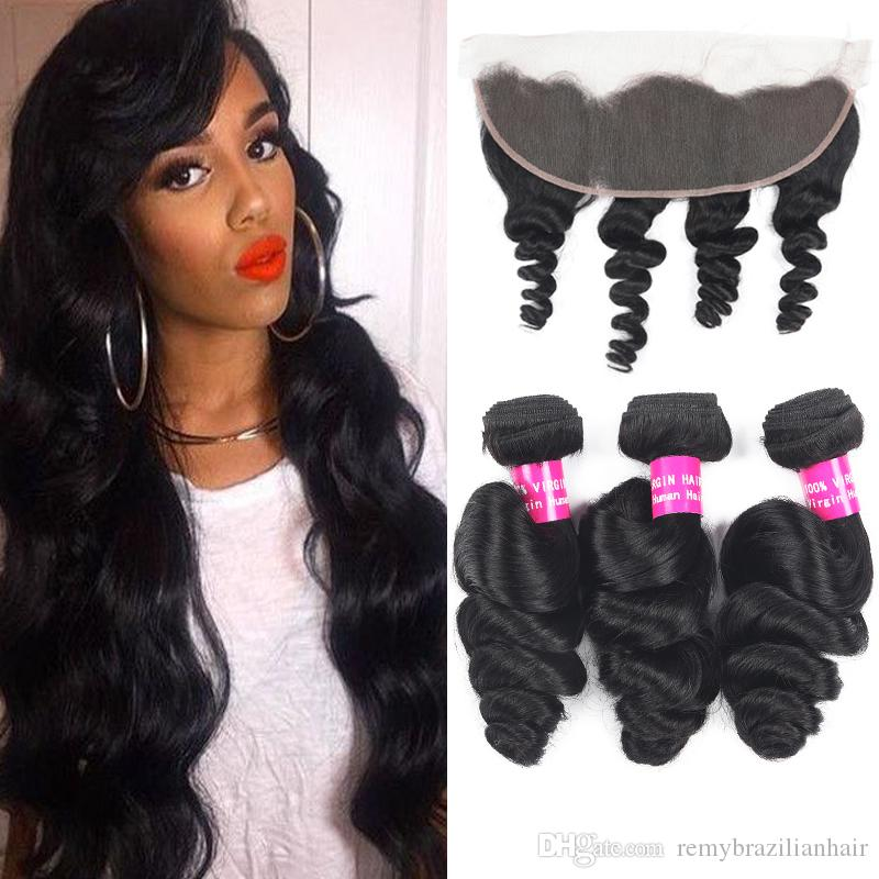9A Remy Brazilian Hair Loose Wave With 13x4 Ear To Ear Lace Frontal Closure Deep Wave Kinky Curly Water Wave Loose With 13X4 Frontal Closure