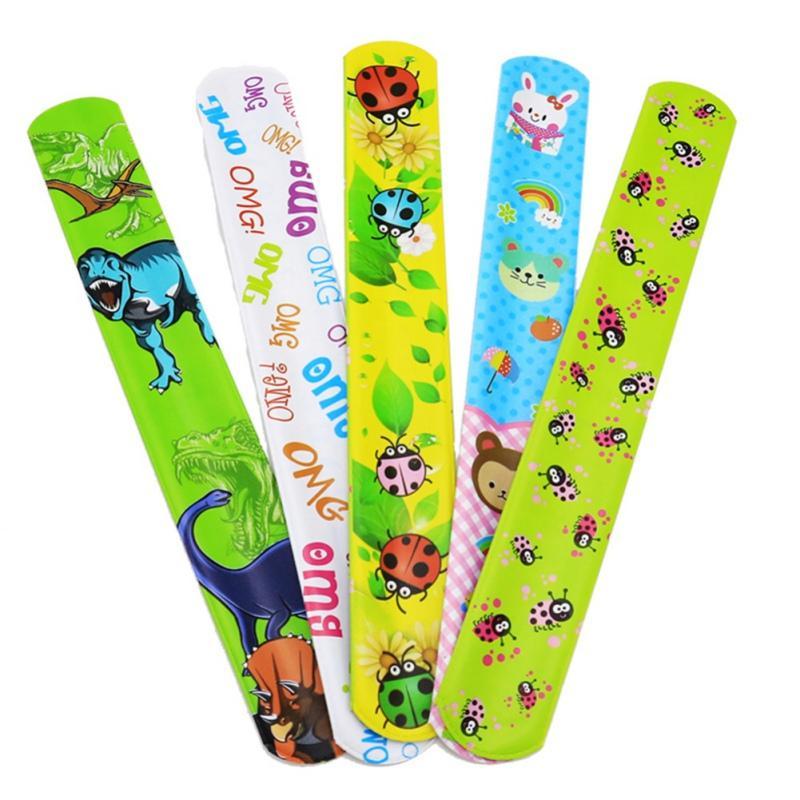25pcs / embalar batida pulseiras para crianças snap pulseiras em massa com animal Flor Imprimir Craft festa de Natal do Dia das Bruxas favores do aniversário