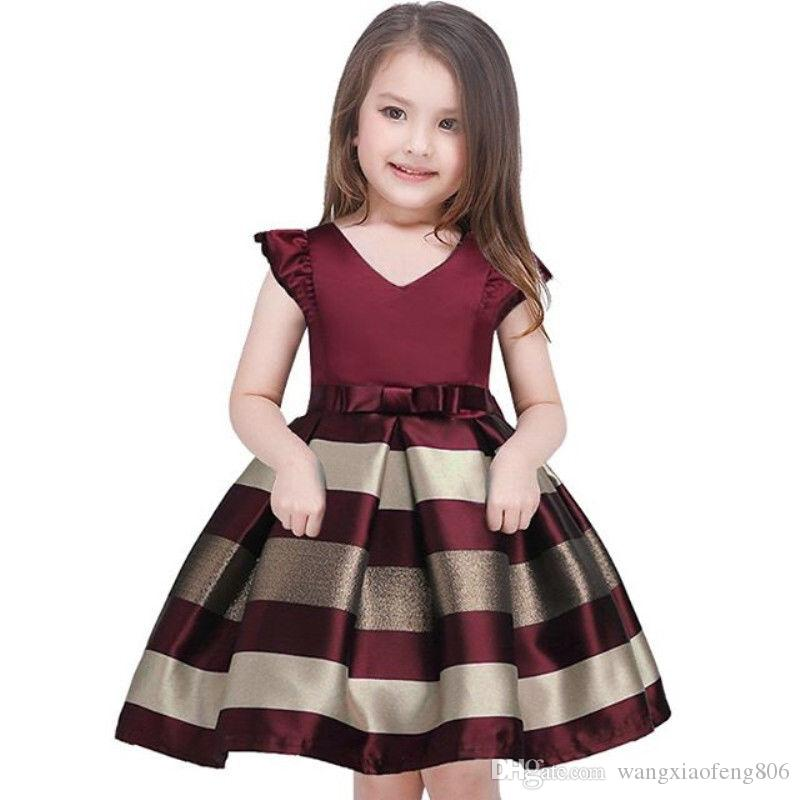 طفل الفتيات مخطط اللباس للبنات حفل زفاف رسمي فساتين الاطفال الأميرة اللباس عيد زي الأطفال الفتيات الملابس