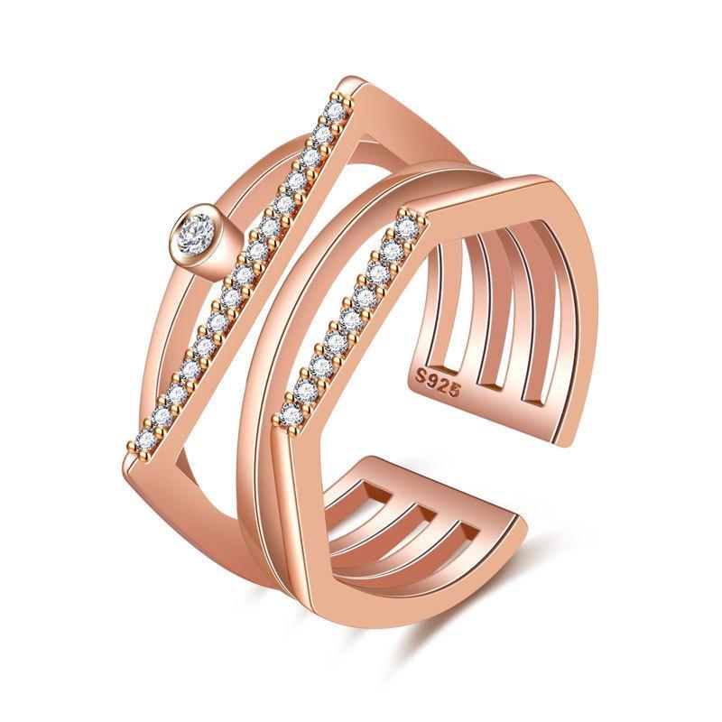 Bonitos Anillos de Parejas Bisutería Color Oro / Plata Imitación Diamon Ring Insert Top Metal Plating Technology Wedding Ring