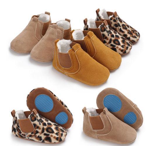Новый малыш Новорожденный мальчик девушки кожа мягкой подошвой Шпаргалка обувь Кроссовки Prewalker Leopard Твердые Теплые Первые ходоки