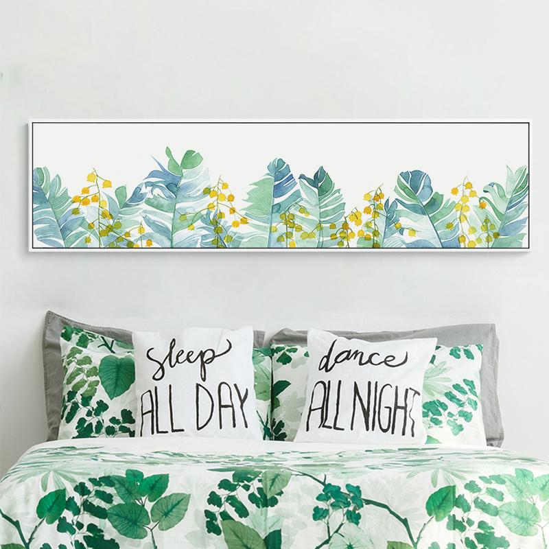 Nordic Banner green plants bedside canvas painting posters and prints wall art pictures for living room bedroom modern decor