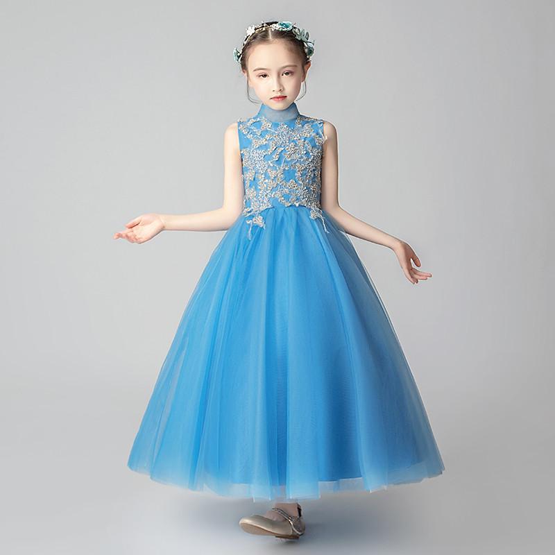 Дети Девушки без рукавов дизайн высокого качества вышивки кружева День рождения Свадьба брак принцессы Пушистые длинные платья Одежда