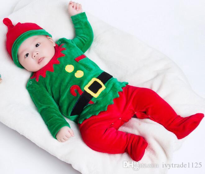 Bébé Girs Boy ensembles de vêtements de velours de Noël pour enfants manches longues du Père Noël imprimé Romper + chapeau bébé 0-24 mois