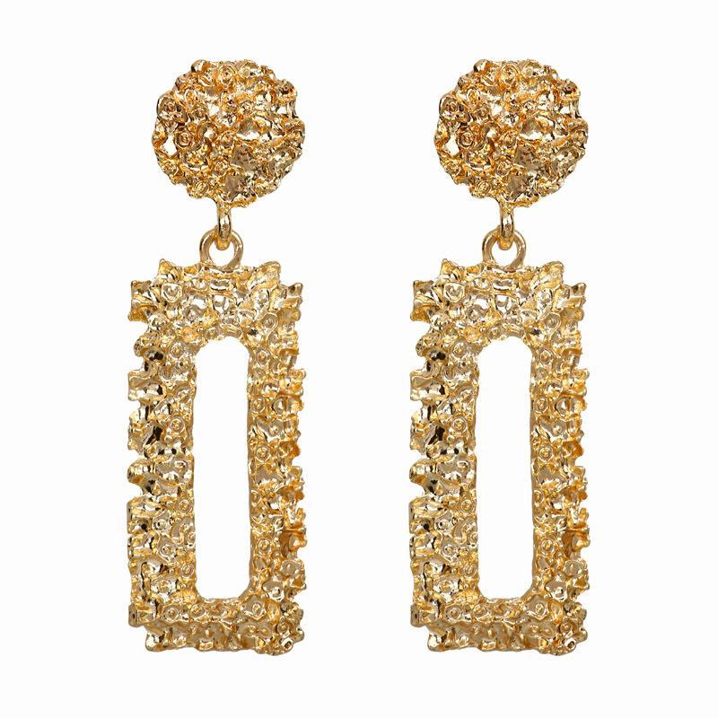 Europeo e americano esagerato orecchini di metalli pesanti semplici orecchini fiore in rilievo geometrico retrò moda orecchini rettangolari