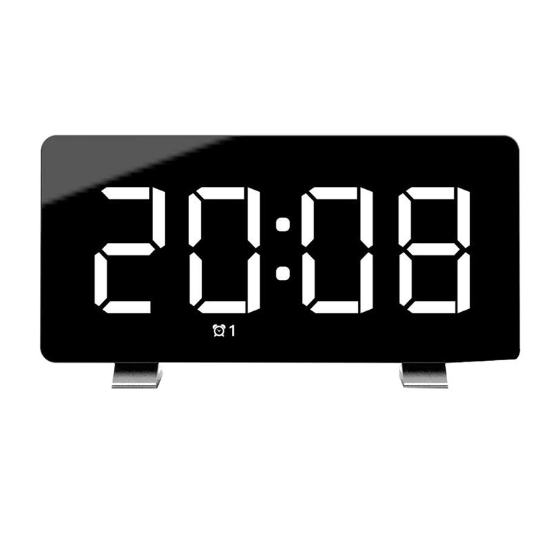 Digital Alarm Clock 7.3 Inch LED Screen with Snooze Adjustable 0-100 Brightness Volume Dimmable Easy for Kid Senior Bedside Alar