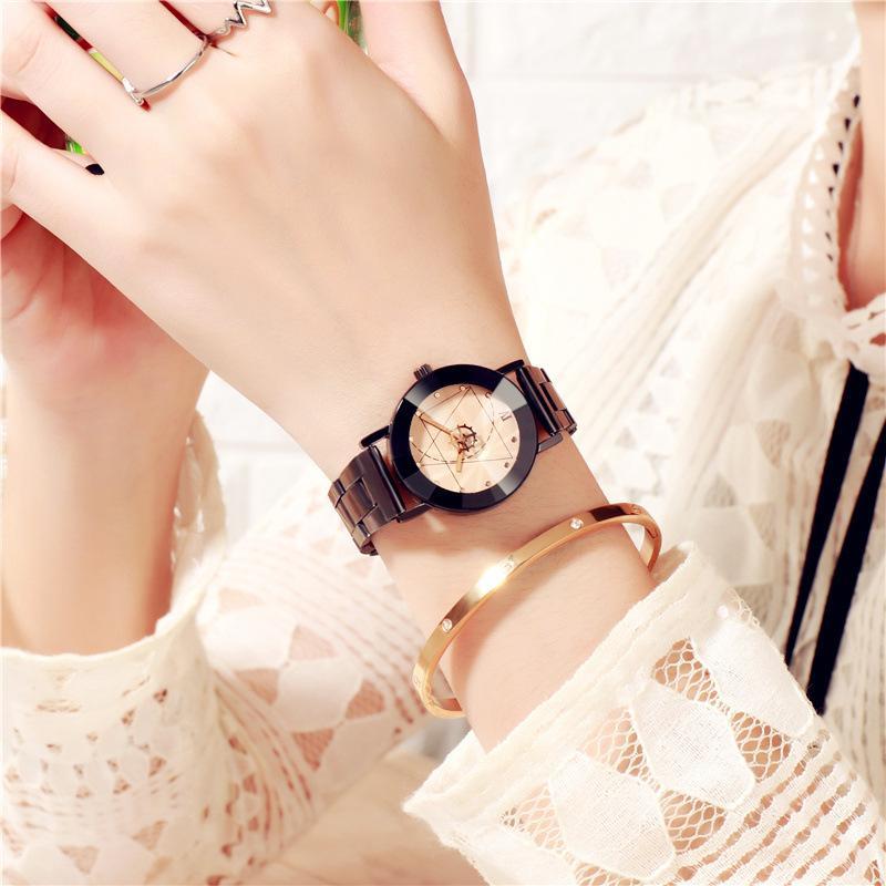 Mode Quartz Hommes Femmes Casual Montres Mesdames poignet Horloge Bracelet Femme en acier inoxydable Montres Heures relogio femenino