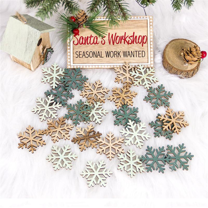 24PCS New Year 2020 Crafts Wooden Pendants Xmas Tree DIY Christmas Tree Decorations for Home Kids Gift Hanging Drop Ornaments