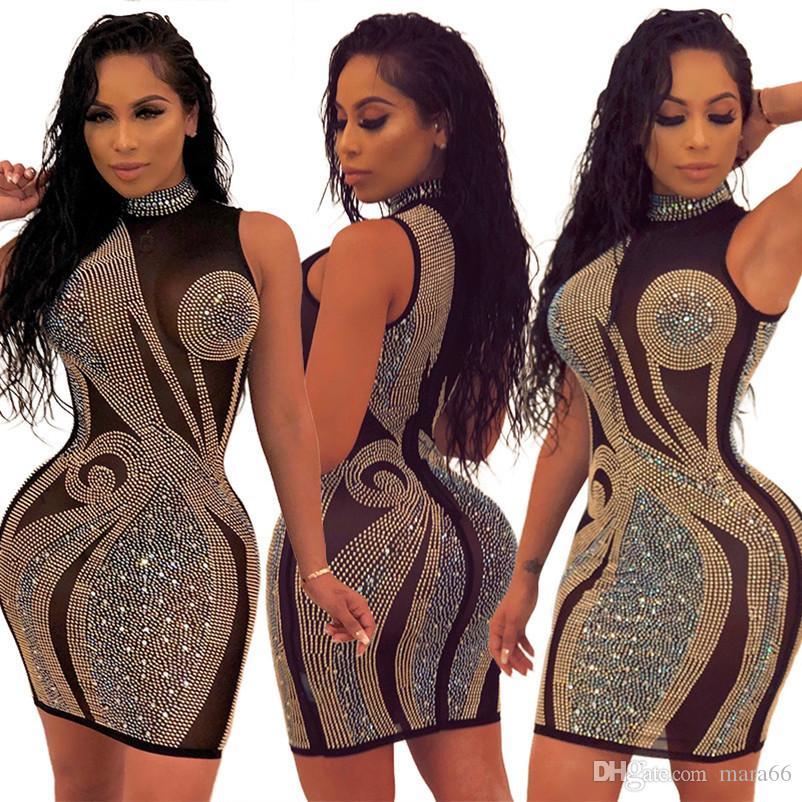 Femmes Sexy Robes Sheer Mesh Strass Mini Vêtements Sans manches Skinny Clubwear Robe Summer Designer 1034 Jupe Gratuite Expédition Fashio ONHV