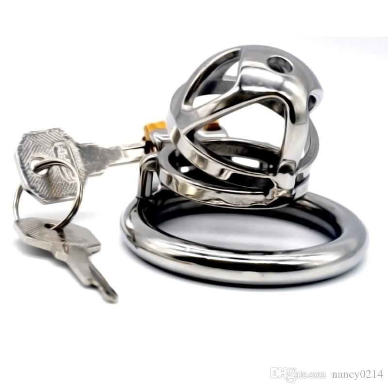 Aço inoxidável Penis Gaiola Cinto de Castidade Penis Luva de Pênis Masculino Dispositivo de Castidade BDSM Brinquedos Sexuais para Homens G7-1-252C