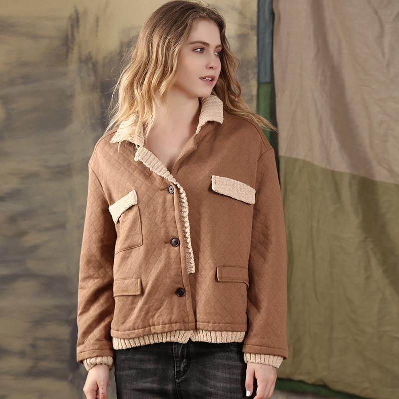 2019 معطف الشتاء فضفاضة سميكة قصيرة معطف القطن عارضة سترات عادية أنثى التصميم الأصلي