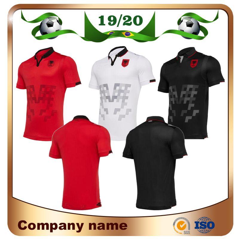 Albânia Home Red Soccer Jersey 19/20 Longe Branco Camisas Terceiro Uniforme de Futebol Nacional de Manga Curta Preta