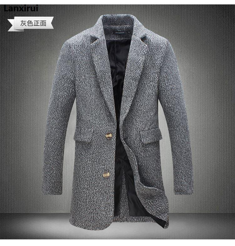 Herren Trench Coat neue Art und Weise Lange Herren Mantel Herbst-Winter-Winddichtes dünner Graben-Men Plus Size Jm10