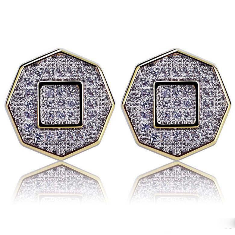 Hip Hop Küpe Takı Sınıf Kalite Zirkon Asfaltlanmış Stud Küpe Moda Unisex 18K altın kaplama Geometrik Küpe