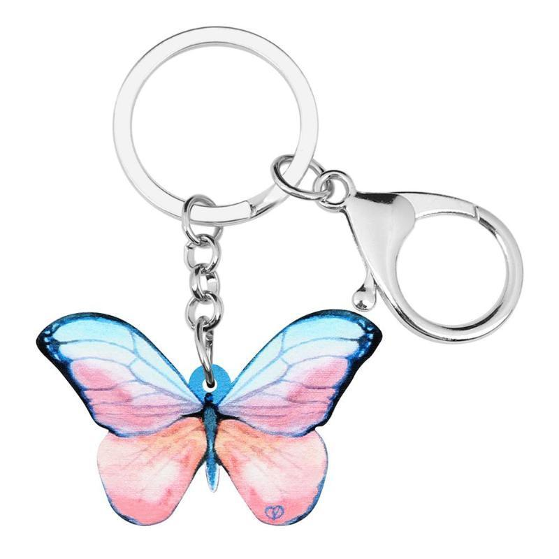 Acrilico rosa Brush-footed Butterfly gioielli Portachiavi insetti animali portachiavi per le donne Teens borsa di fascino Decoration auto