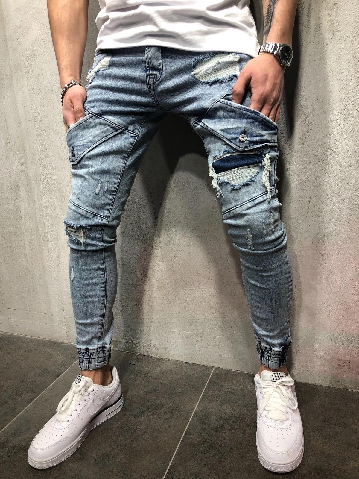New Mens Jeans Washed Blue Knee Hole Zipper Pocket Design Hip Hop Pants Pencil Pants For Male