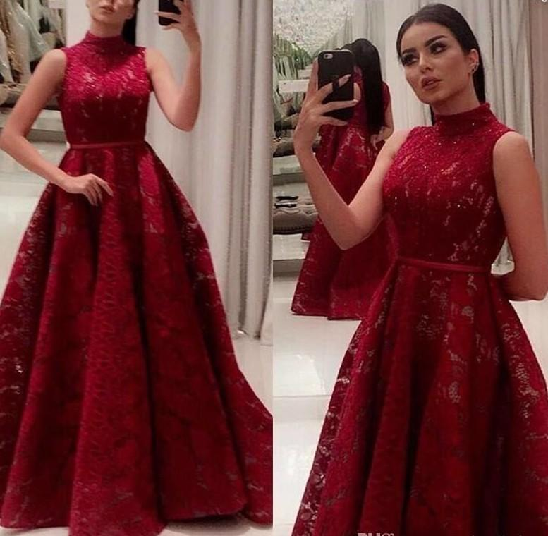 Saudi Arabic Dubai Burgundy 2020 Evening Gowns High Neck A Line Lace Prom Dresses with Belt Women Pageant Red Carpet Gowns