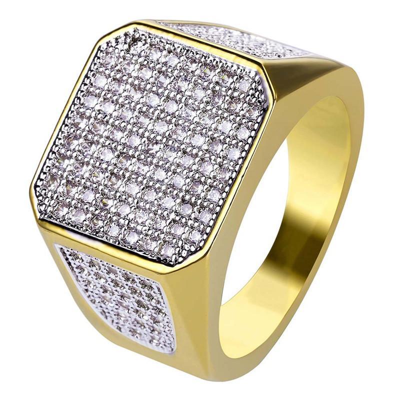 Gioielli Hip Hop fuori ghiacciato zircone anelli di diamante placcato oro 18K Mens Dito di partecipanti regalo 7-11