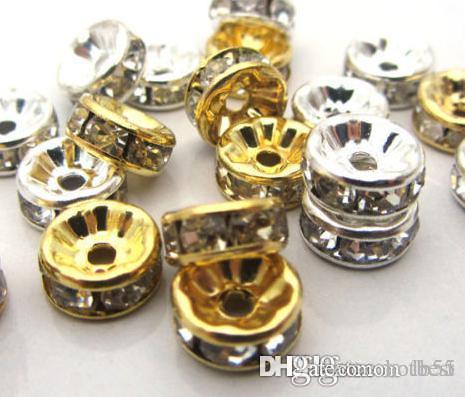 8 ملليمتر 600 قطعة / الوحدة مختلط الذهب والفضة مطلي الأبيض واضح كريستال حجر الراين الخرز ، النتائج مجوهرات rondelle فضفاض الخرزة y4242 w62 x82