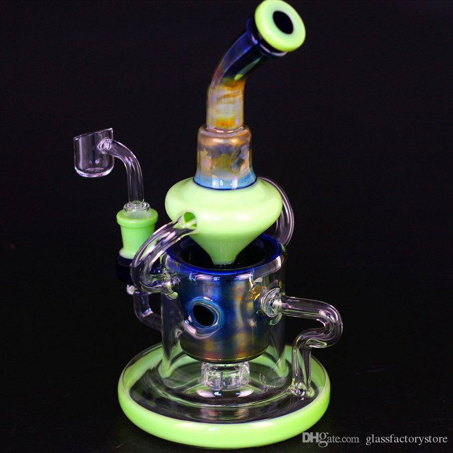 tubos de vidro Tubos de altura Reciclador de vidro Bongs coador de água 14 milímetros homem fêmea Joint Oil Dab Rigs com quartzo Banger ou Glass Bowl