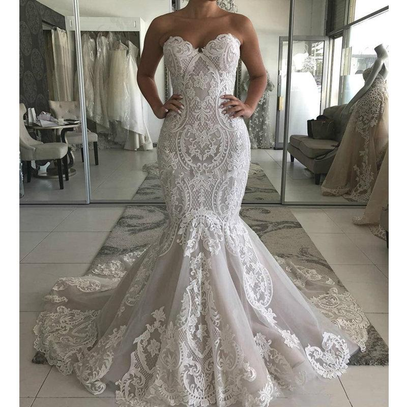 Sweetheart Full Lace Mermaid Wedding Dress 2020 Sexy Backless Wedding Gowns Gorgeous Buttons Back Bride Dress robe de mariee CPH050