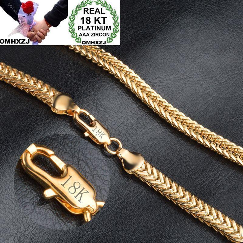 OMHXZJ بالجملة الأزياء الشخصية OL إمرأة حزب فتاة الذهب هدية 6MM سلسلة 18KT الذهب سوار + قلادة مجموعة مجوهرات SE44
