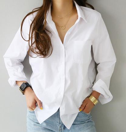 2020Spring una tasca Donne camicia bianca femminile camicetta top a manica lunga casuali Girano-giù il collare OL di stile Loose Women Camicette