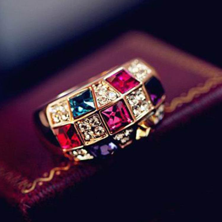 여성 다채로운 라인 석 크리스탈 손가락 눈부신 반지 레이디 선물을위한 새로운 럭셔리 쥬얼리 칵테일 파티