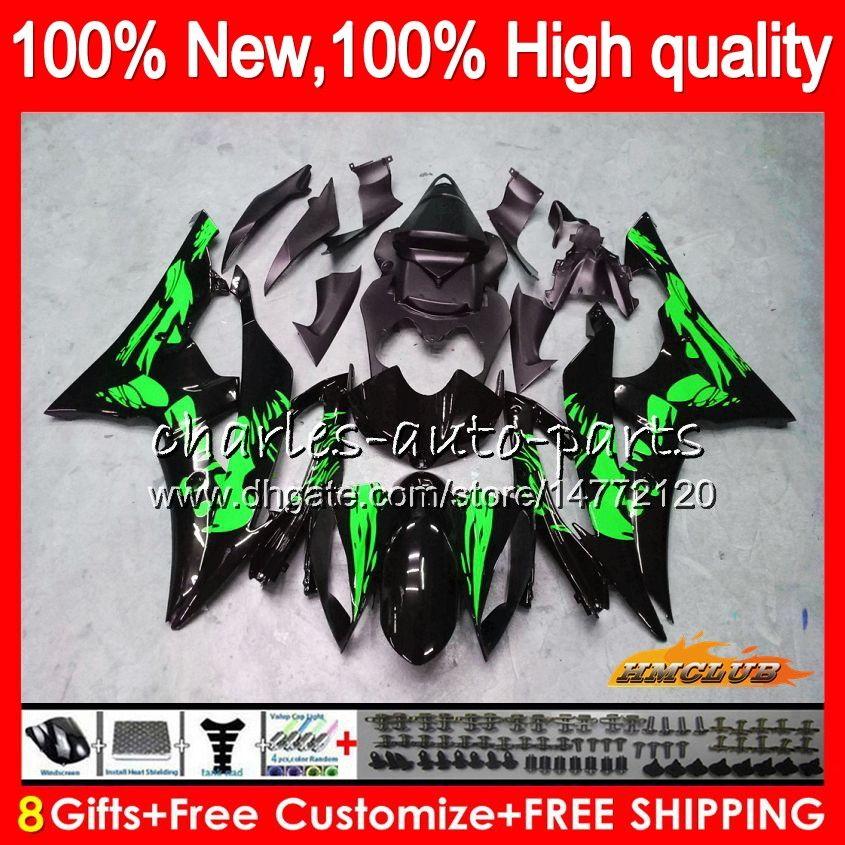 Body For YAMAHA Graffiti green YZF R 6 YZF 600 YZF-600 YZFR6 06 07 Frame 61HC108 YZF R6 06-07 600CC YZF600 YZF-R6 2006 2007 OEM Fairings Kit