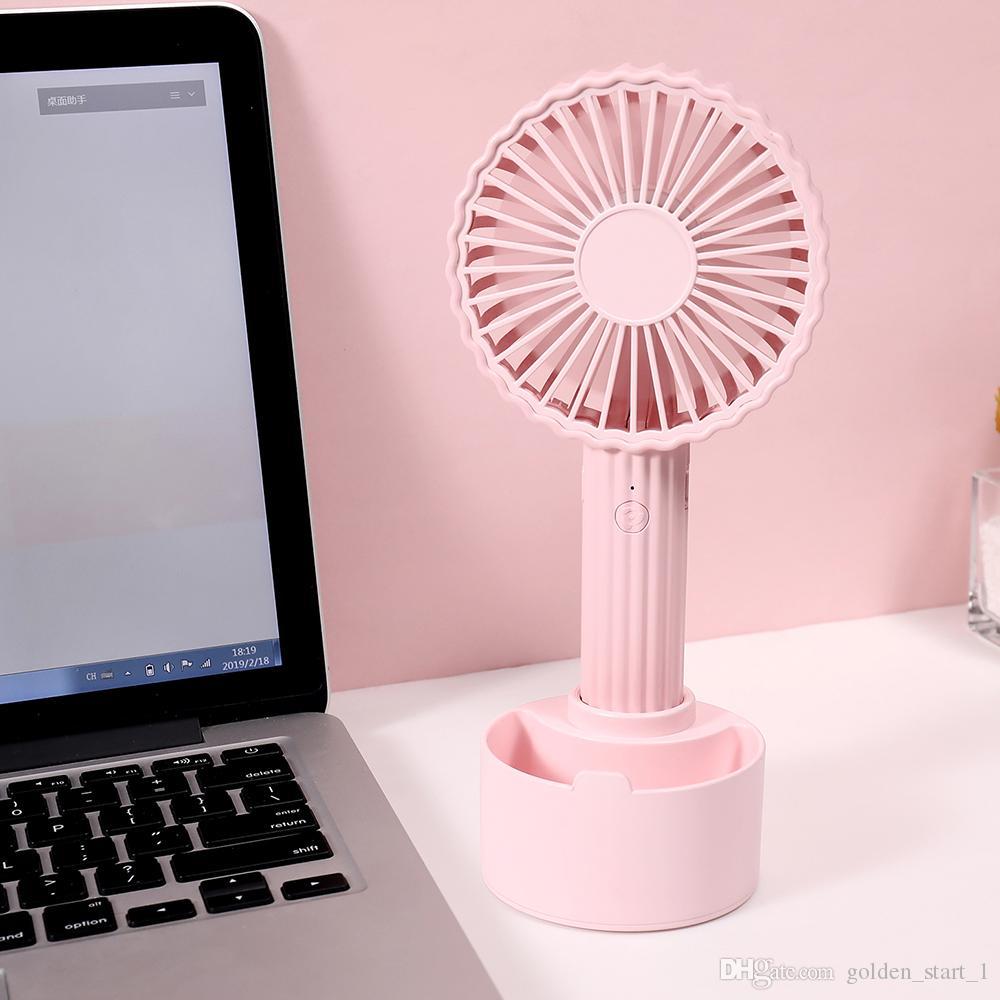 2019 Nuevo Ventilador de Cactus Handheld Mini USB Ventilador al aire libre 1200ma 3 Engranajes Velocidad de Viento Ventilador de Refrigeración de Verano con Soporte