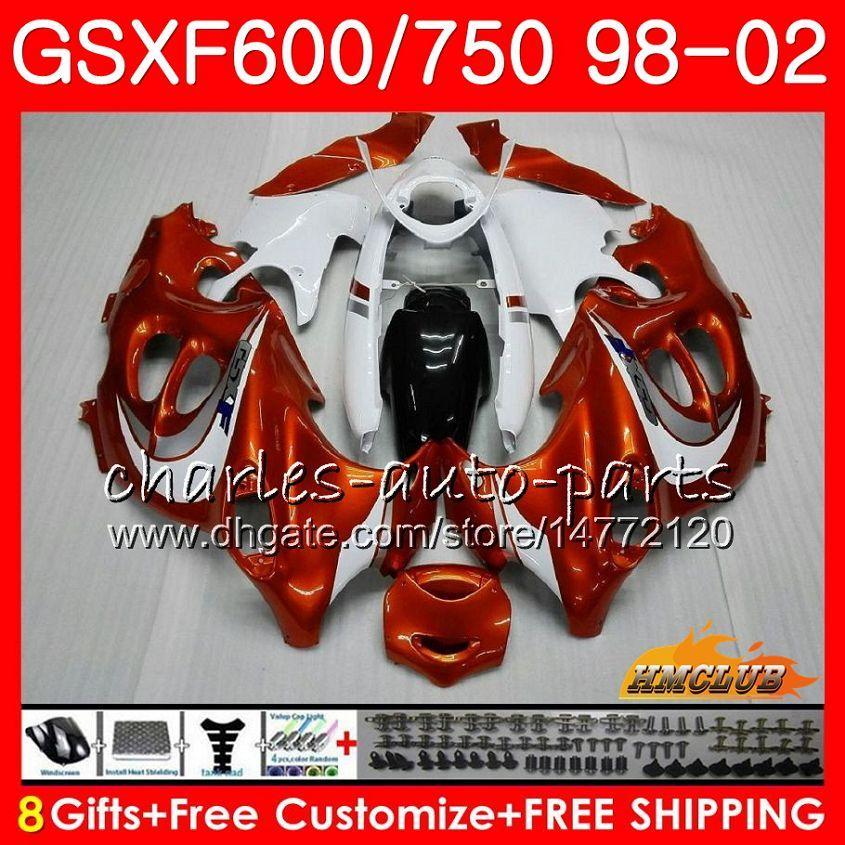 Corps pour Suzuki Katana GSXF 750 600 GSXF600 98 99 00 01 02 2HC.5 GSX750F GSX600F GSXF750 1998 1999 2000 2001 Kit de carénage blanc orange