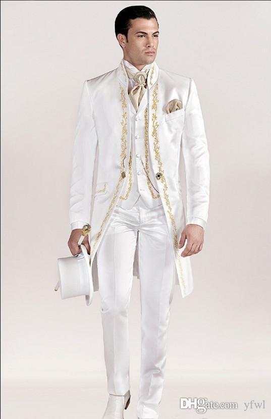 Elfenbein-Stickerei-Smoking Bräutigam Hochzeit Männer Anzüge für Männer Anzüge Hochzeit Smoking Kostüme de Rauchen gießt hommes Männer (Jacket + Pants + Tie + Vest) 028