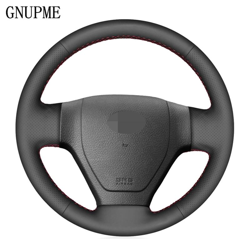 DIY Hand-stitched Black Artificial Leather Car Steering Wheel Cover for Getz 2002 2003 2004 2005 2006