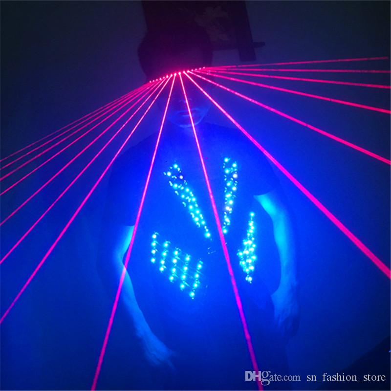 T17-1 Colorful light ballroom led costumes RGB light dance wears stage costumes dj clothes led vest laser glasses disco catwalk
